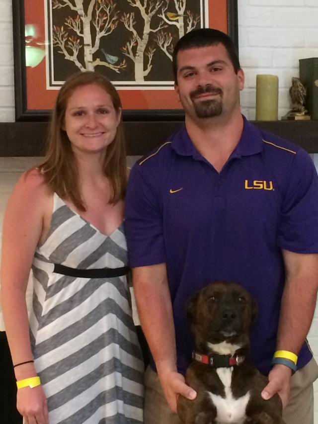 Lexie, Nick, and their dog Bailey