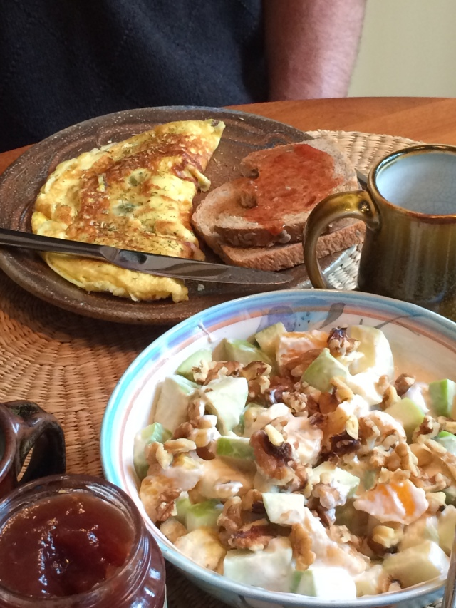 Andy's omelette & Amy's fruit yogurt salad
