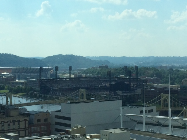 View from our room.  Allegheny River, PNC Park, and Heinz Field.