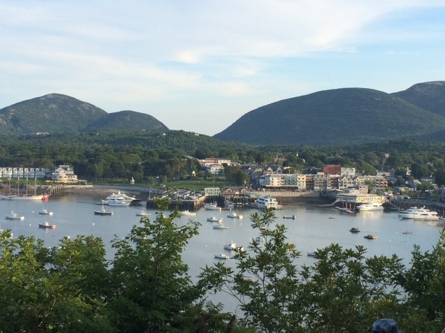 View of Bar Harbor from Bar Island.  Cadillac Mt in the background.