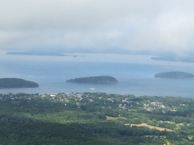 View of Bar Harbor and Frenchman's Bay from most of the way up Cadillac Island