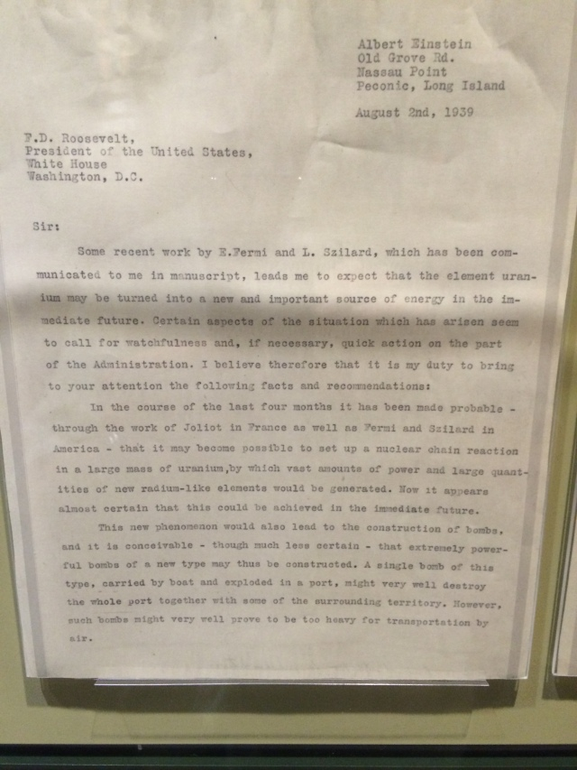Letter from Albert Einstein about the research being done (in the US and Germany) on Atomic Weaponry.