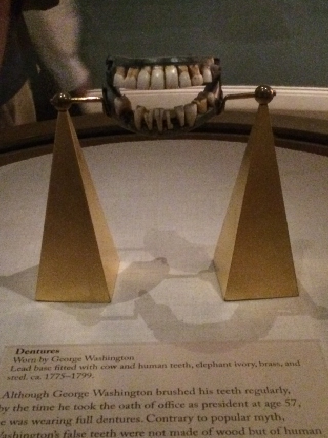 Dentures made of human and cow teeth (no wood)