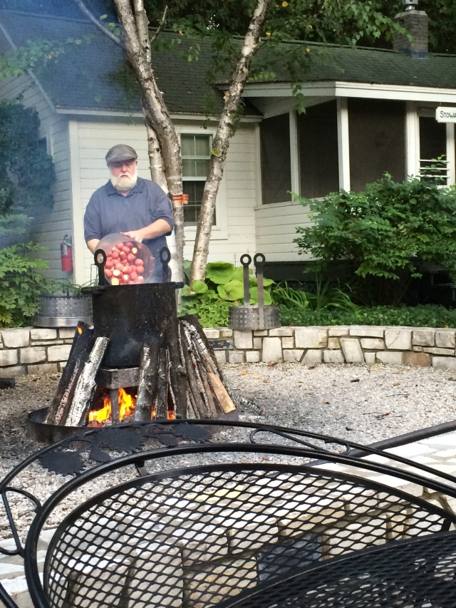 Our Master Cook dumping the potatos