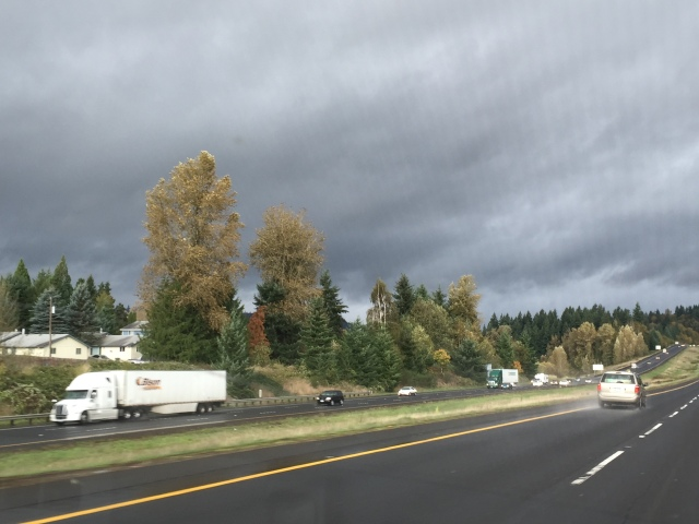 Driving from Portland to Seattle...looks very dark up ahead