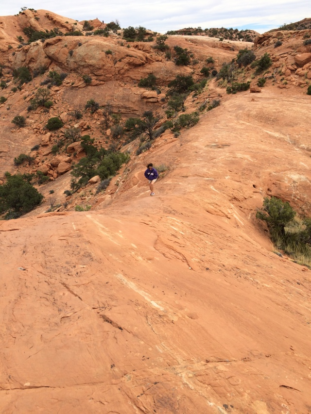 The hike to the Upheaval Dome view point.  The drop on both sides of Robin is several hundred feet.