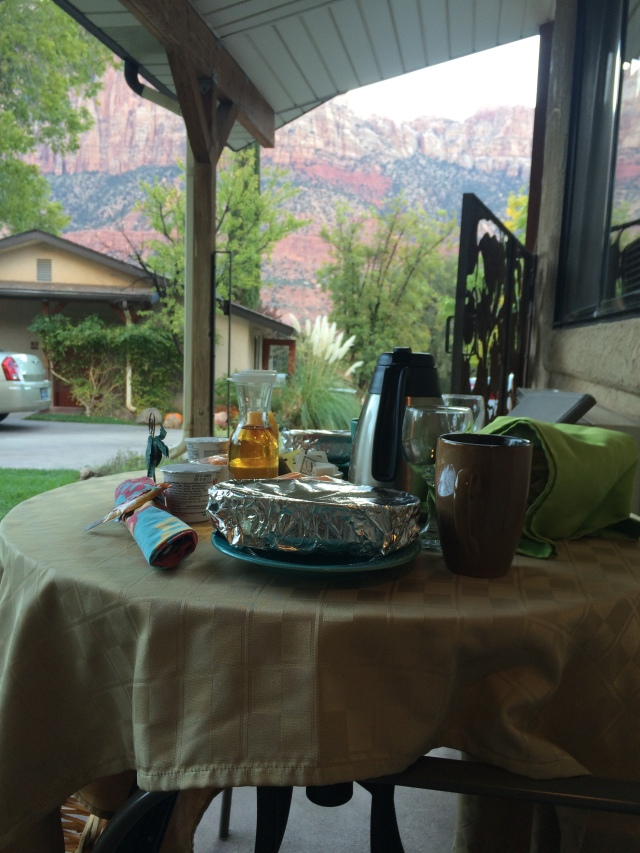 Breakfast on our porch