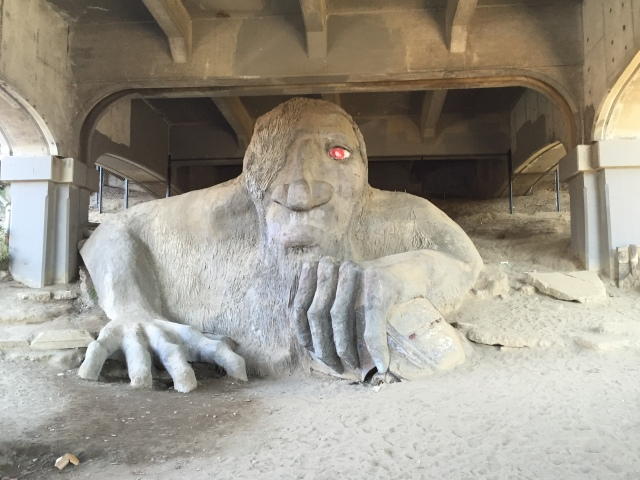 Stopped to visit the Fremont Troll!