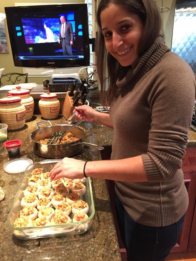 Emily preparing stuffed mushrooms