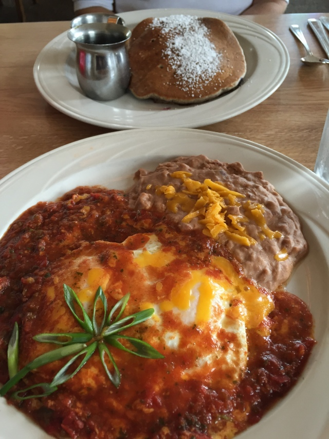 Blueberry pancakes and Huevous Rancheros at Victorian Corner