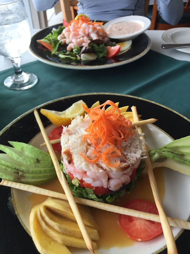 Shrimp Louie and some kind of Seafood Tower.