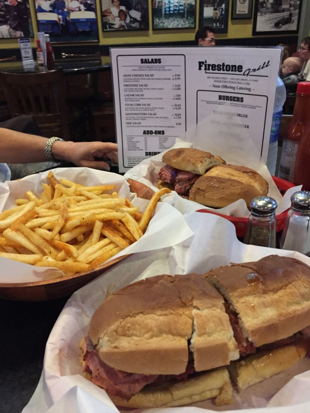 Tri-tip sandwiches and a basket of fries at Firestone grill near Cal Poly in San Luis Obispo (thanks for the recommendation Ryan!)