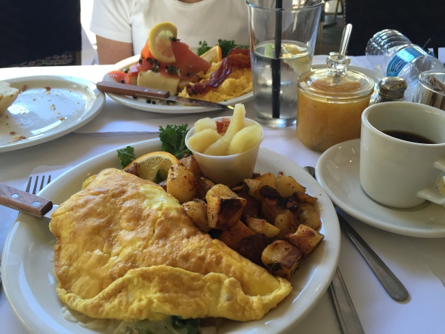 Tuesday breakfast at Andersen's Bakery-Smoked Scottish Salmon and Garden Omelette
