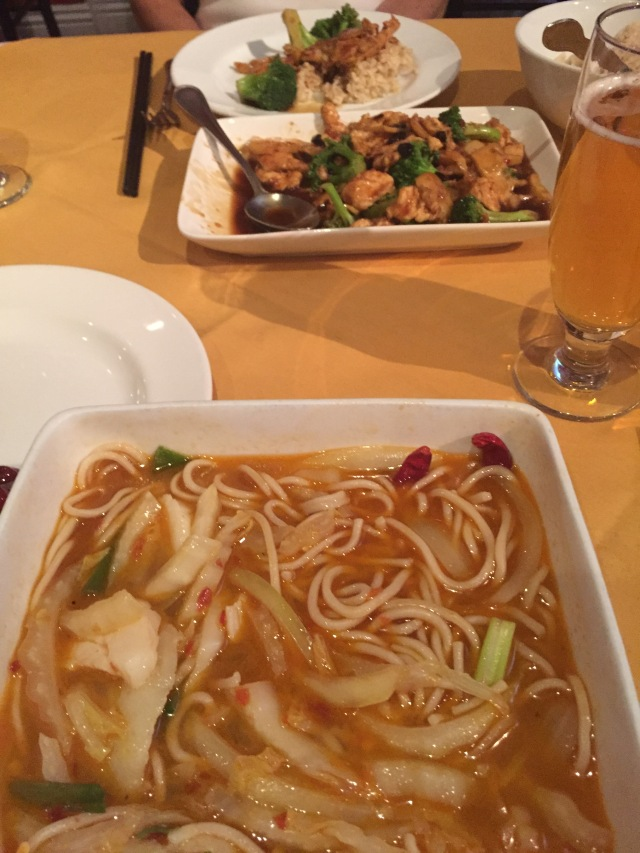 Seafood Soup Noodles and Chicken with Black Bean Souce
