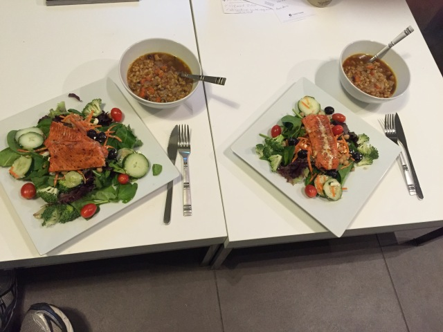 Salad with blackened salmon and barley lentil soup