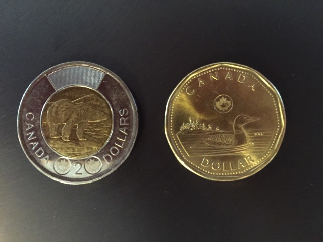 A toonie and a loonie