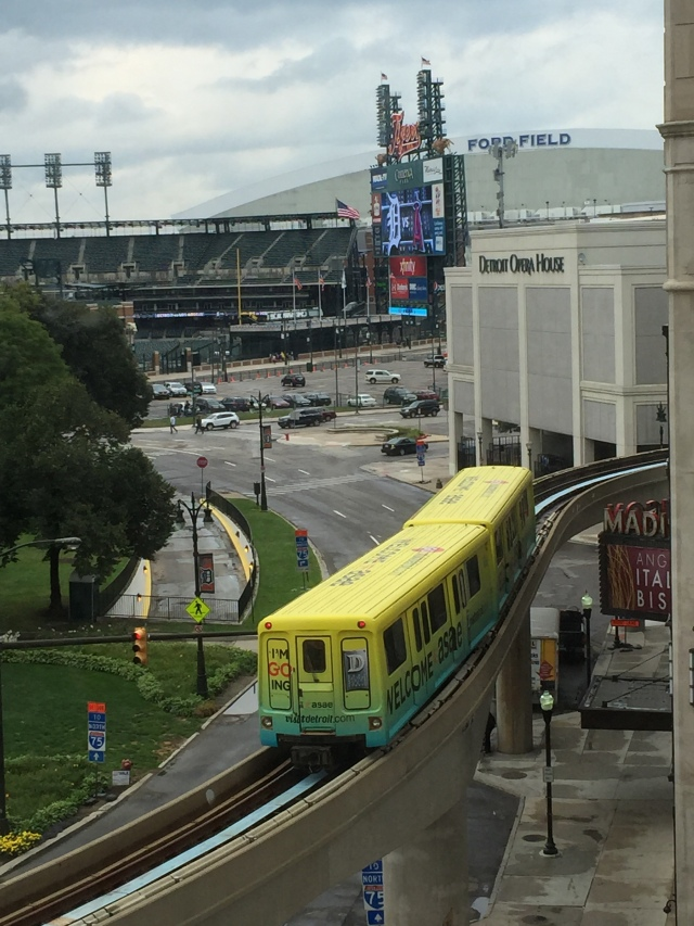 Our view of Comerica Park and the People Mover