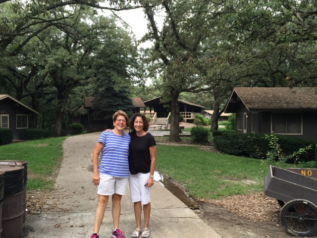 Marcy and I in front of the big girls cabins