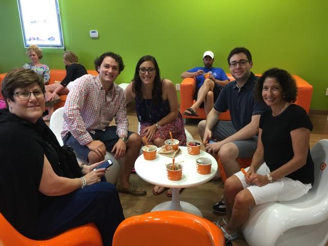 Julie, Daniel, Rachel, David, and myself at Orange Leaf enjoying frozen yogurt