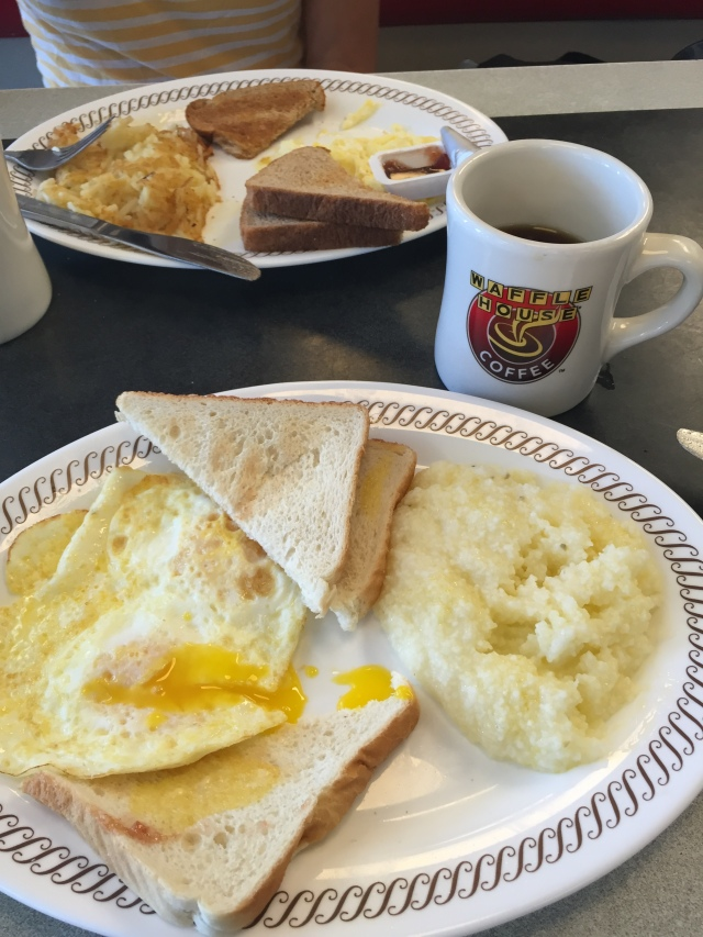 eggs over easy, grits and waffles
