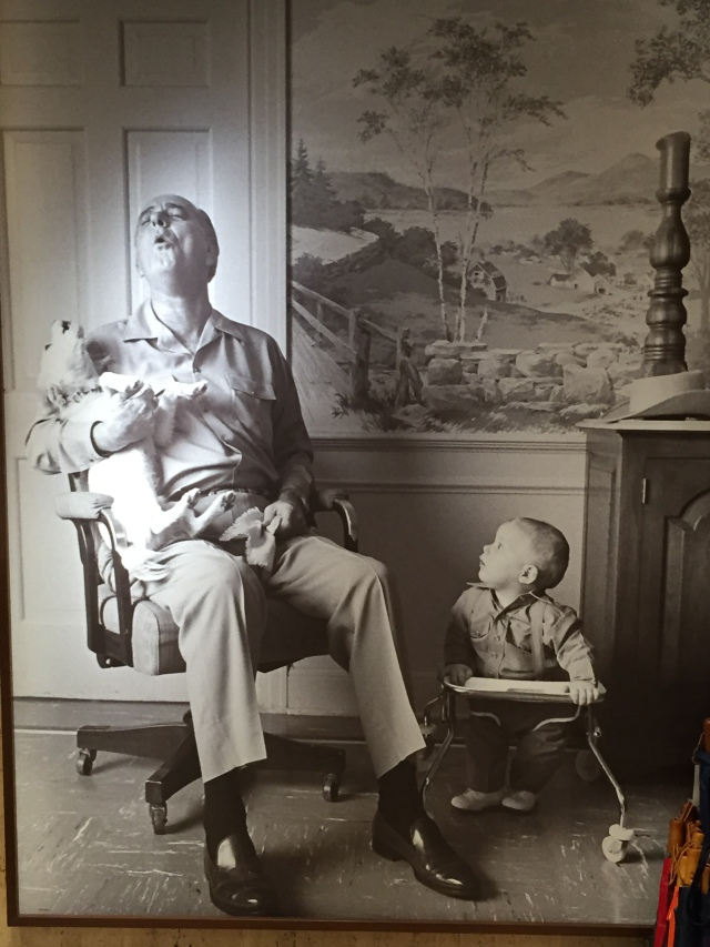 LBJ with his dog and grandson