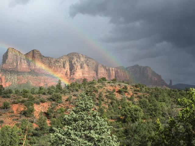 On the way back we got just enough rain to get this great double rainbow